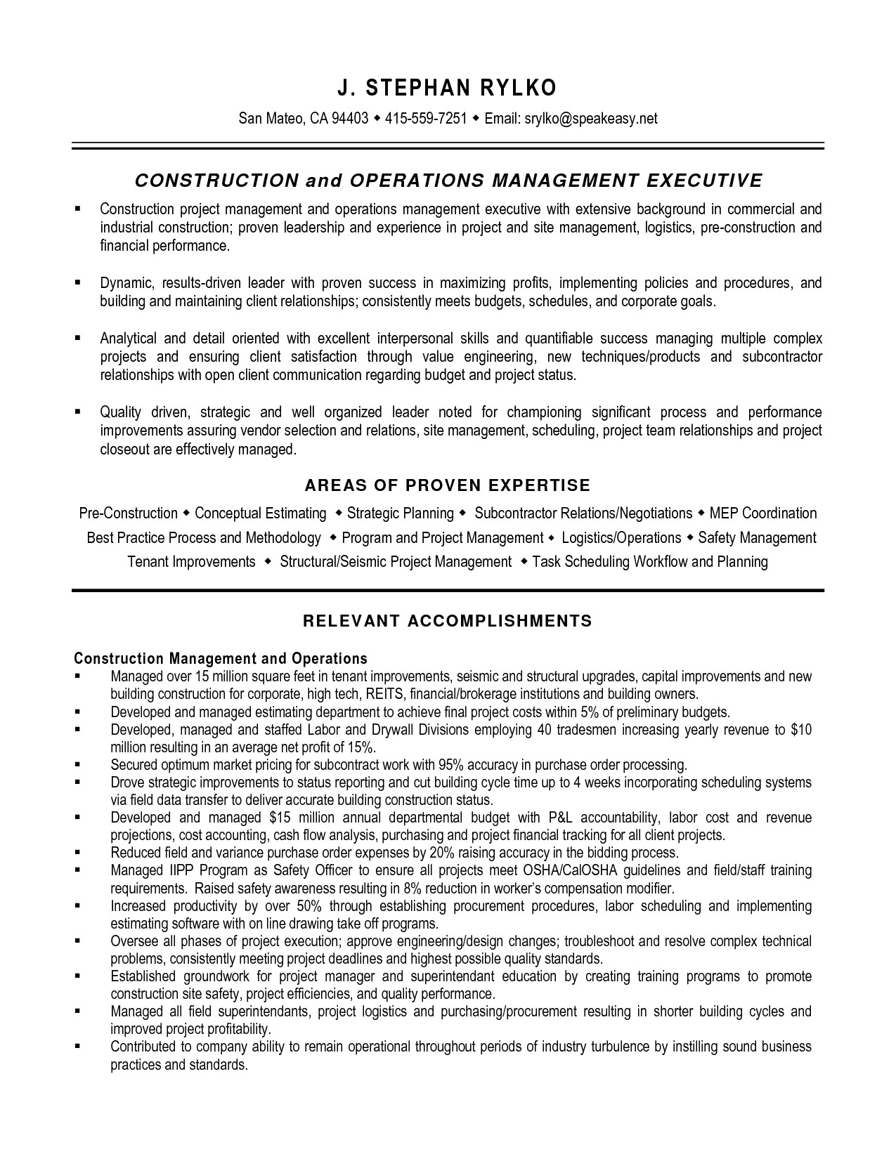 Project Manager Objective Resume Samples Project Manager Resume Writer Construction Management