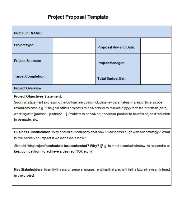 project proposal template sample