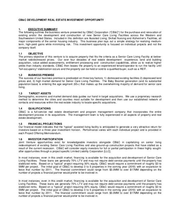 Property Development Business Plan Template Pdf 8 Sample Real Estate Business Plans Sample Templates