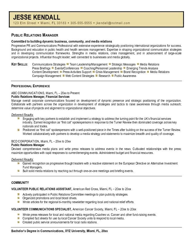Public Relations Resume Template Public Relations Resume Sample Best Template Collection