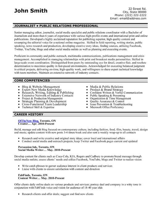 public relations resume samples