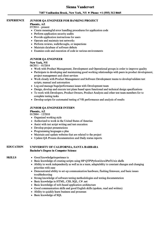 junior qa engineer resume sample