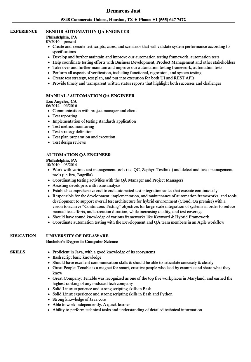 Qa Automation Engineer Resume Sample Lovely Lead software Qa Engineer Resume Contemporary
