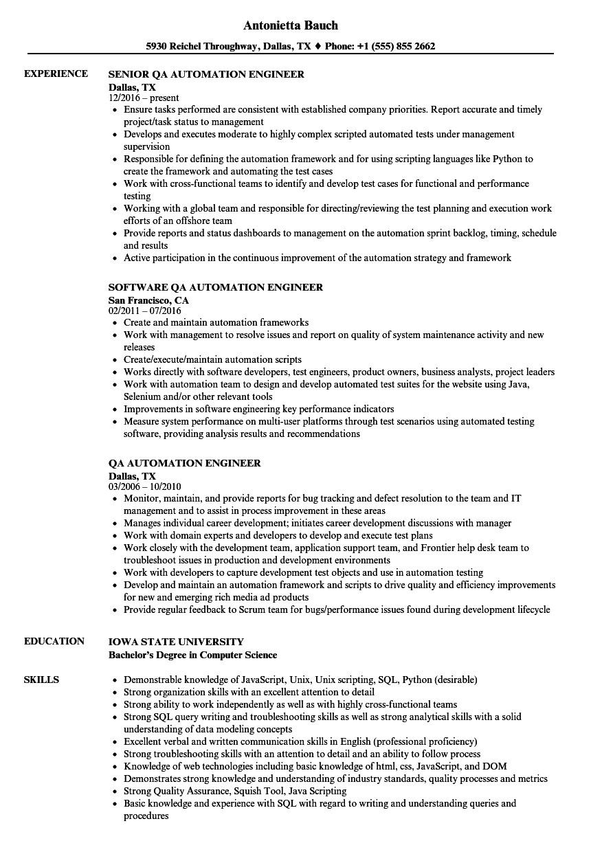 qa automation engineer resume sample