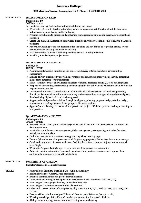Qa Automation Engineer Resume Sample Qa Automation Resume Samples Velvet Jobs