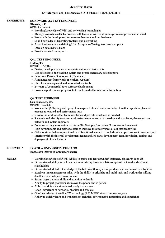 qa test engineer resume sample