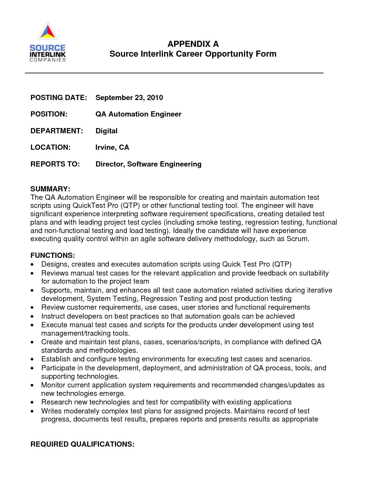 resume of automation engineer