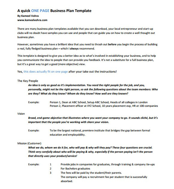 Quick Business Plan Template Free 10 One Page Business Plan Samples Sample Templates