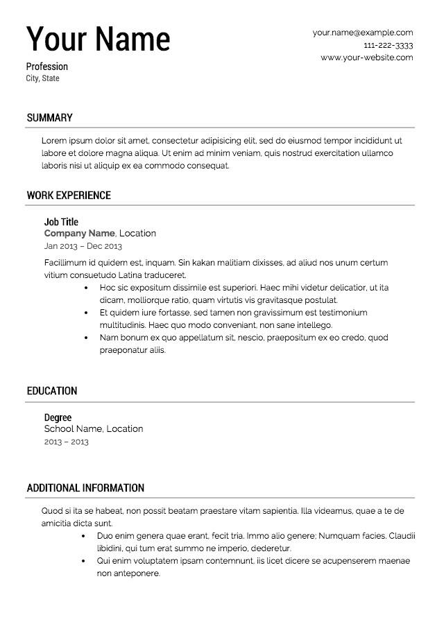 Quickstart Resume Templates Quickstart Resume Templates