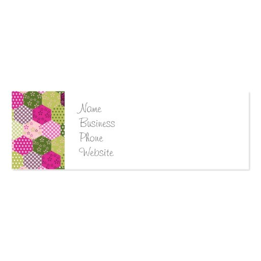 pretty pink green mulberry patchwork quilt design business card 240483027613565030