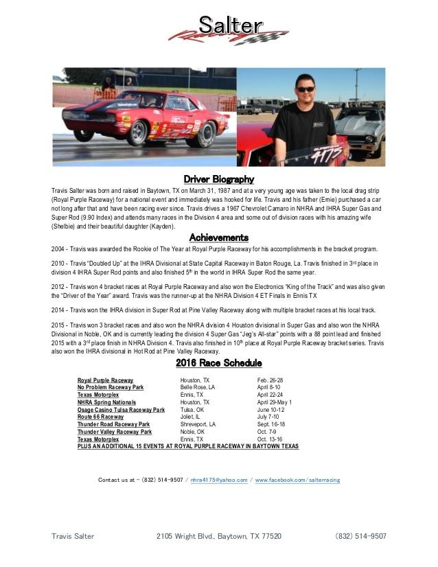 salter racing 2016 resume sponsorship package 55989008