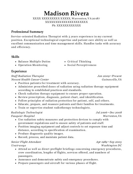 Radiation therapy Resume Templates Novant Health Cancer Center Staff Radiation therapist