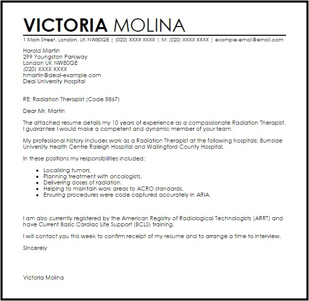 Radiation therapy Resume Templates Radiation therapist Cover Letter Sample Livecareer