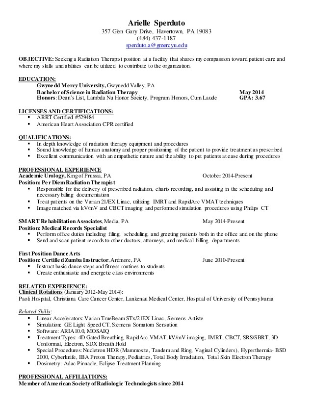radiation therapist resume