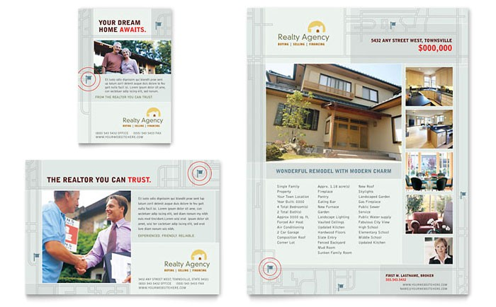 Real Estate Agent Brochure Templates Real Estate Agent Realtor Flyer Ad Template Design