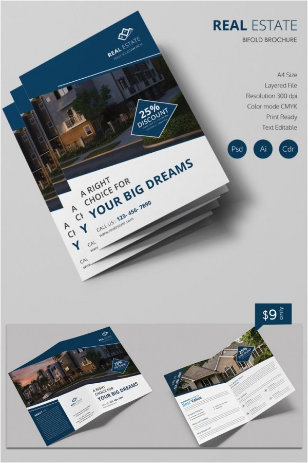 Real Estate Brochures Templates Free Simple Real Estate A4 Bi Fold Brochure Template Free