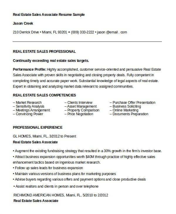 Real Estate Resumes Templates 7 Sales associate Resume Templates Pdf Doc Free