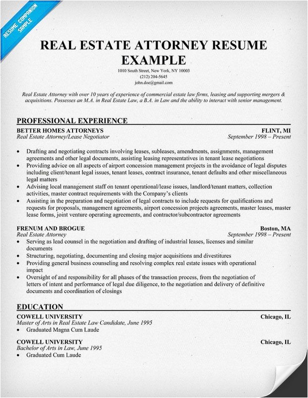 Real Estate Resumes Templates Real Estate attorney Resume Example Resume Samples