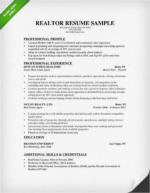 Real Estate Resumes Templates Real Estate Resume Writing Guide Resume Genius