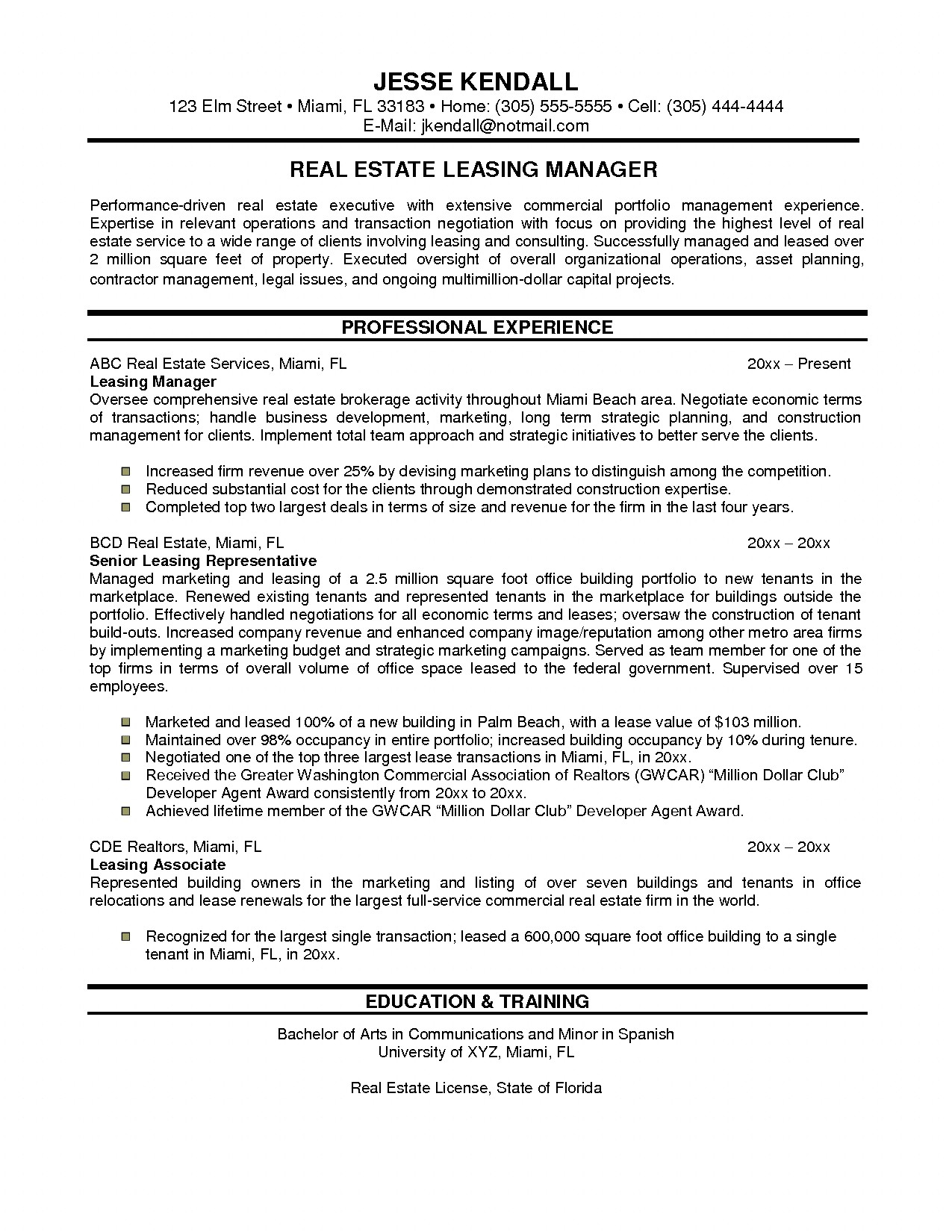 resume real estate agent