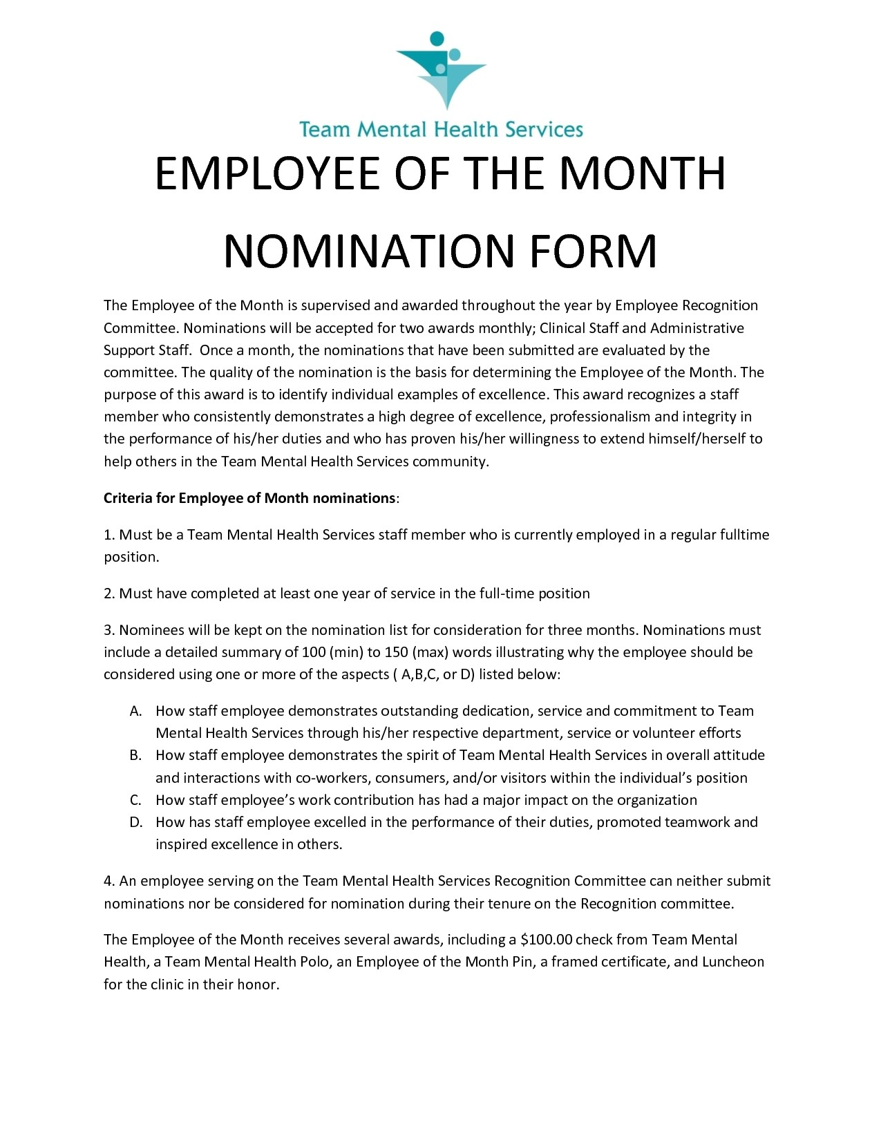 employee of the month nomination form design
