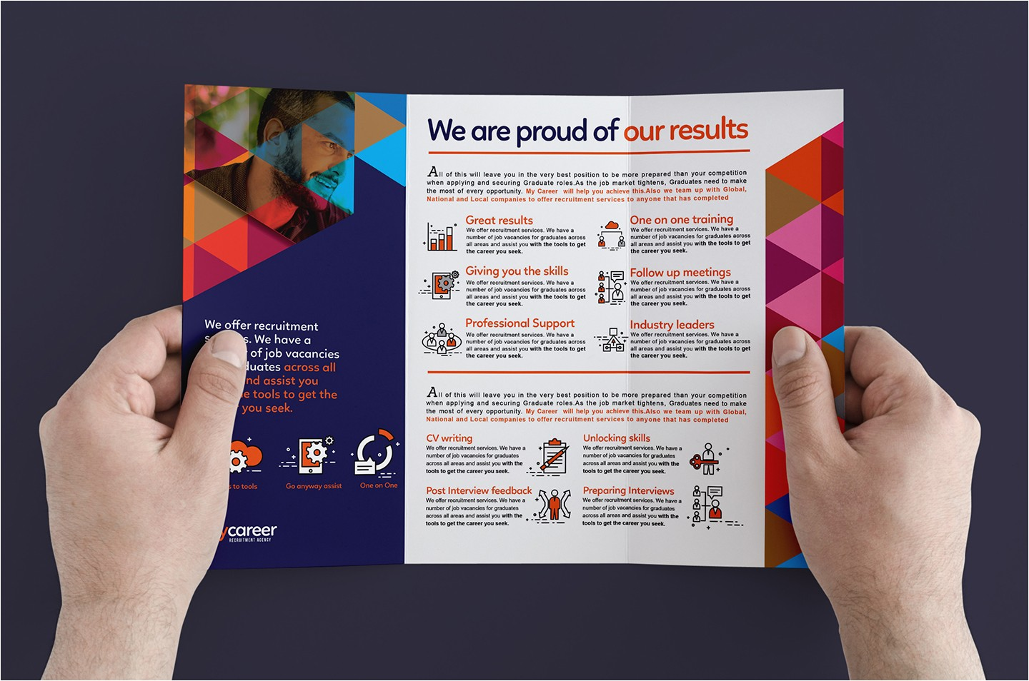recruitment agency trifold brochure template
