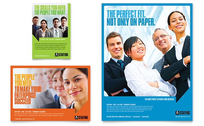 staffing recruitment agency flyer ad template design pn0060701