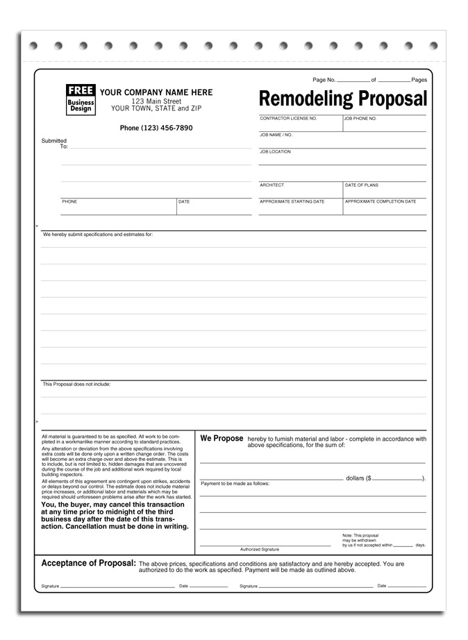 Remodeling Proposal Template Remodeling Proposal Item 5524 Contractor forms