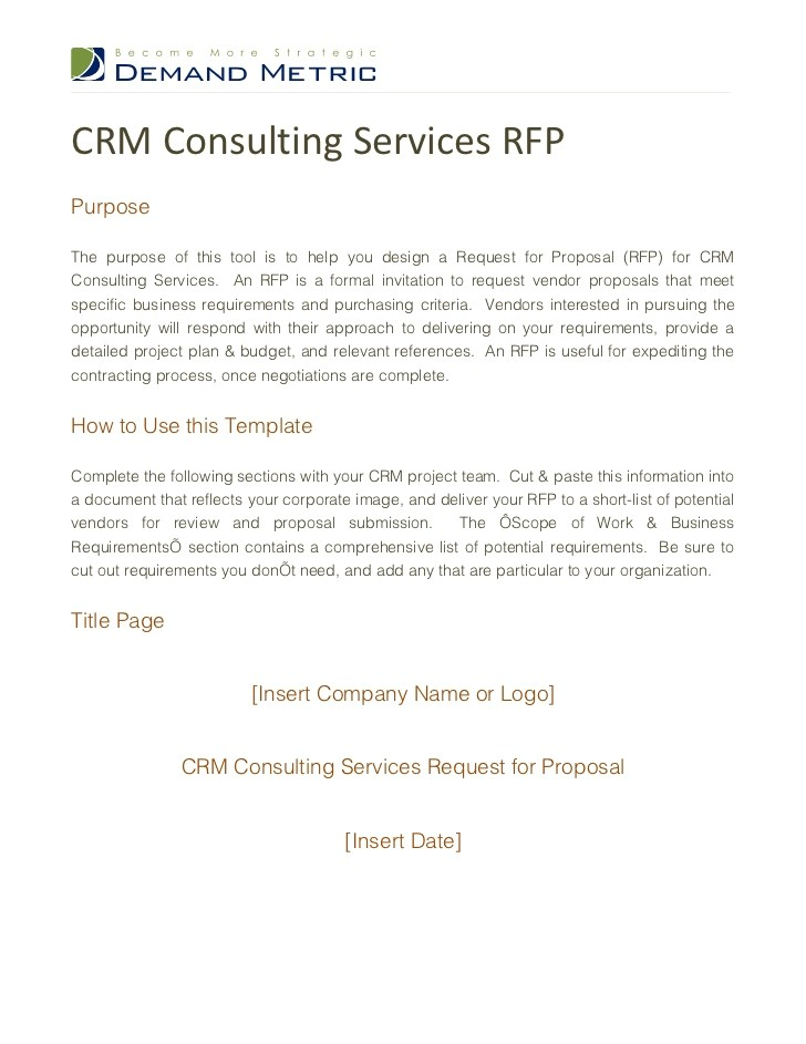 Request for Proposal Template for Consulting Services Crm Consulting Services Rfp