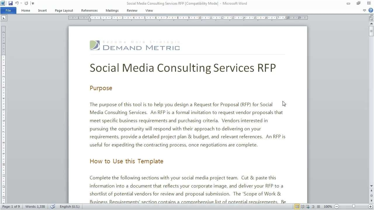 Request for Proposal Template for Consulting Services social Media Consulting Rfp Template Youtube
