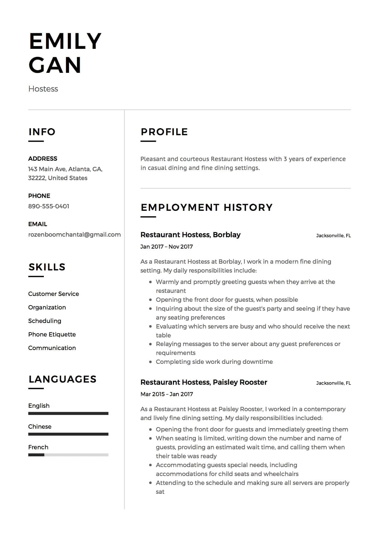 restaurant hostess resume samples