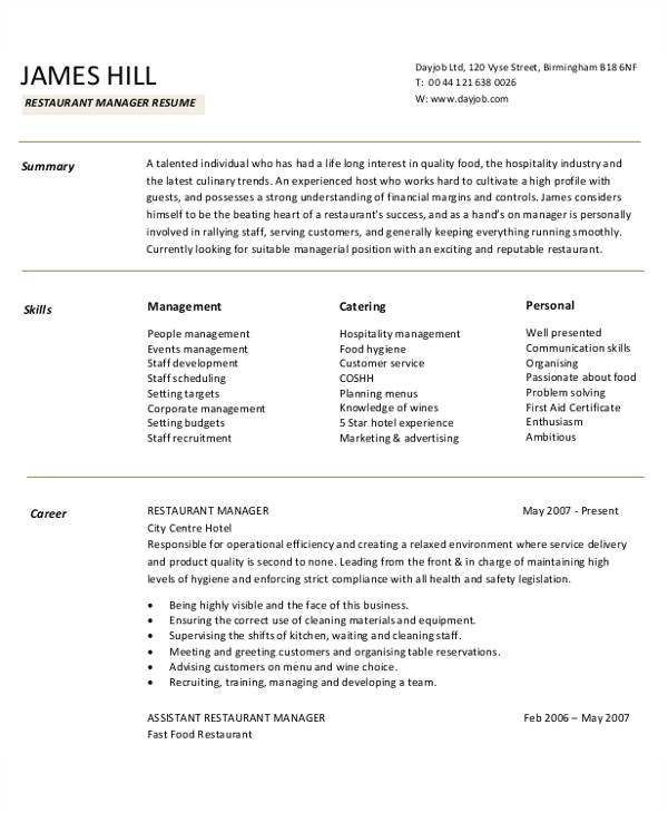 Restaurant Resume Template 54 Manager Resumes In Pdf Free Premium Templates