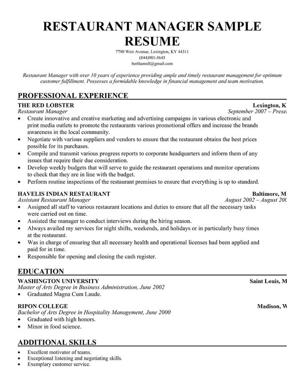 Restaurant Resume Template Restaurant Manager Resume Template Business Articles