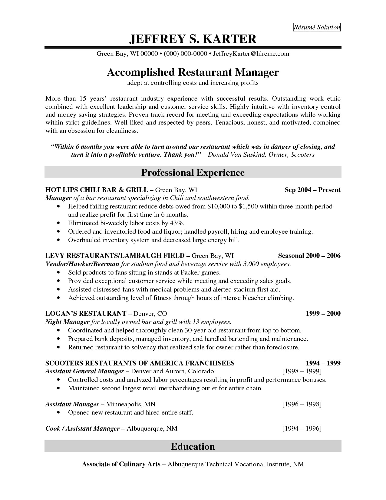 resume templates for restaurant managers