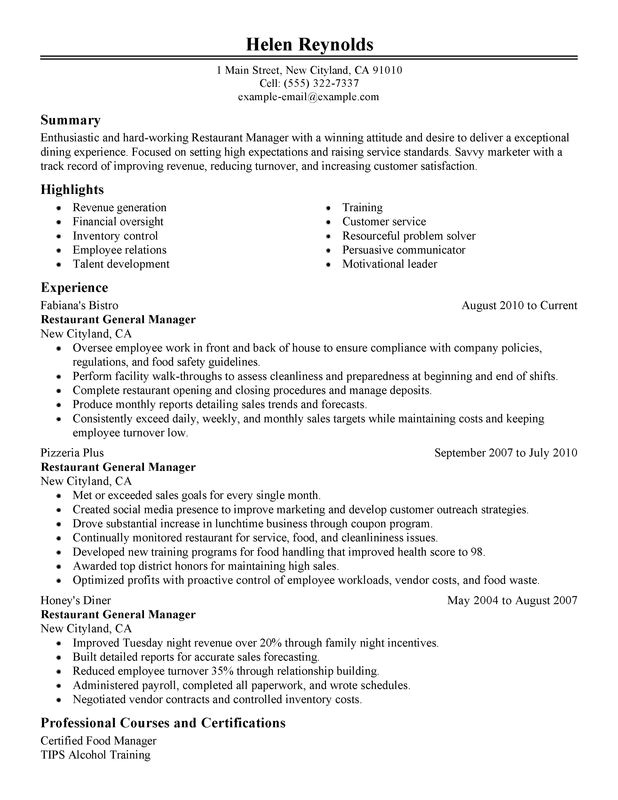 Restaurant Resume Templates Restaurant Manager Resume Examples Created by Pros
