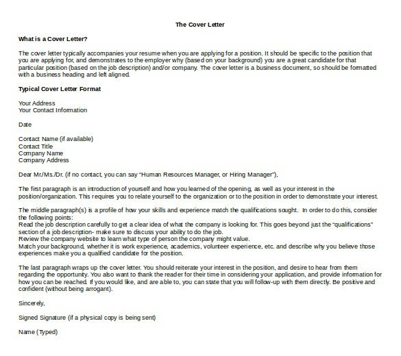 word cover letter