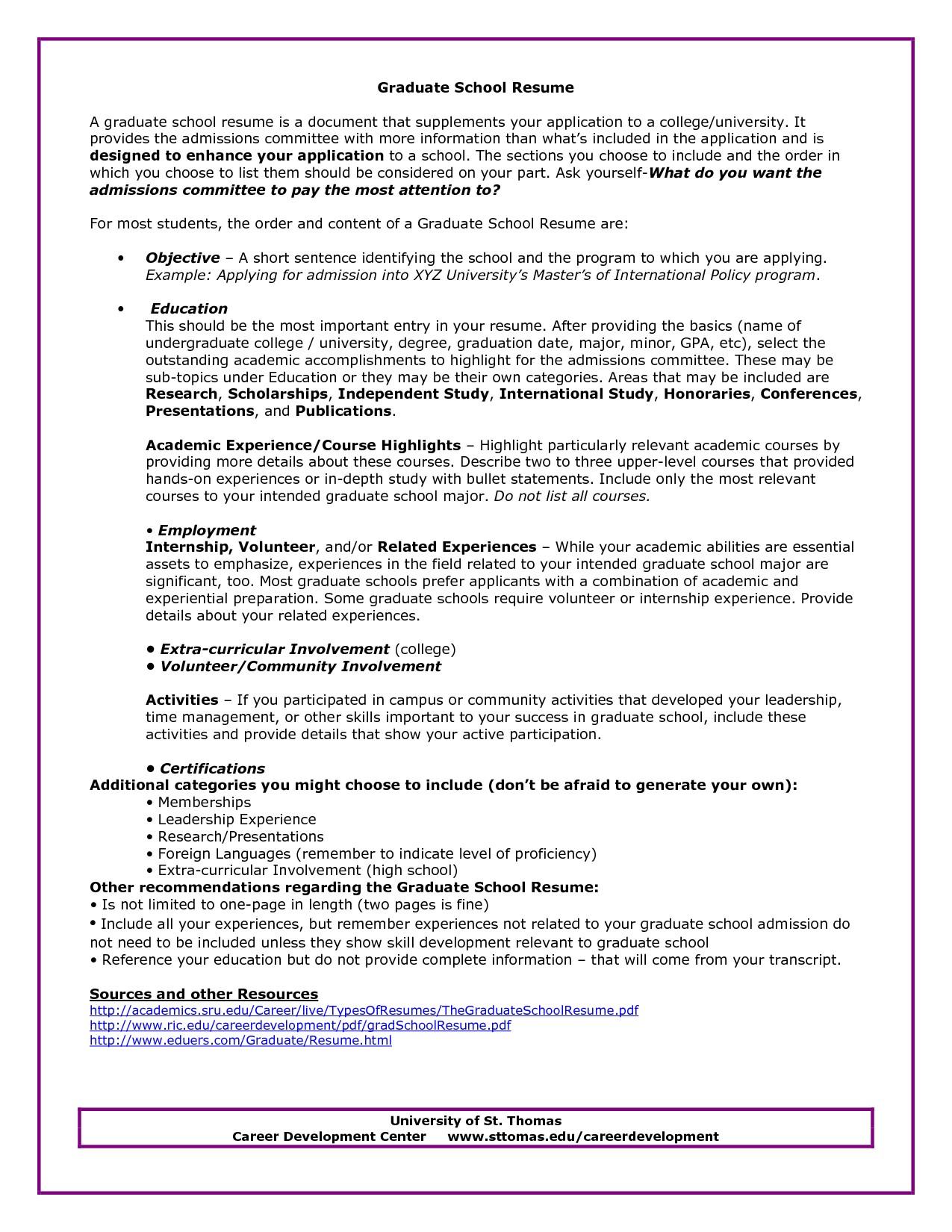 Resume Graduate School Sample Graduate School Admissions Resume Sample Http Www