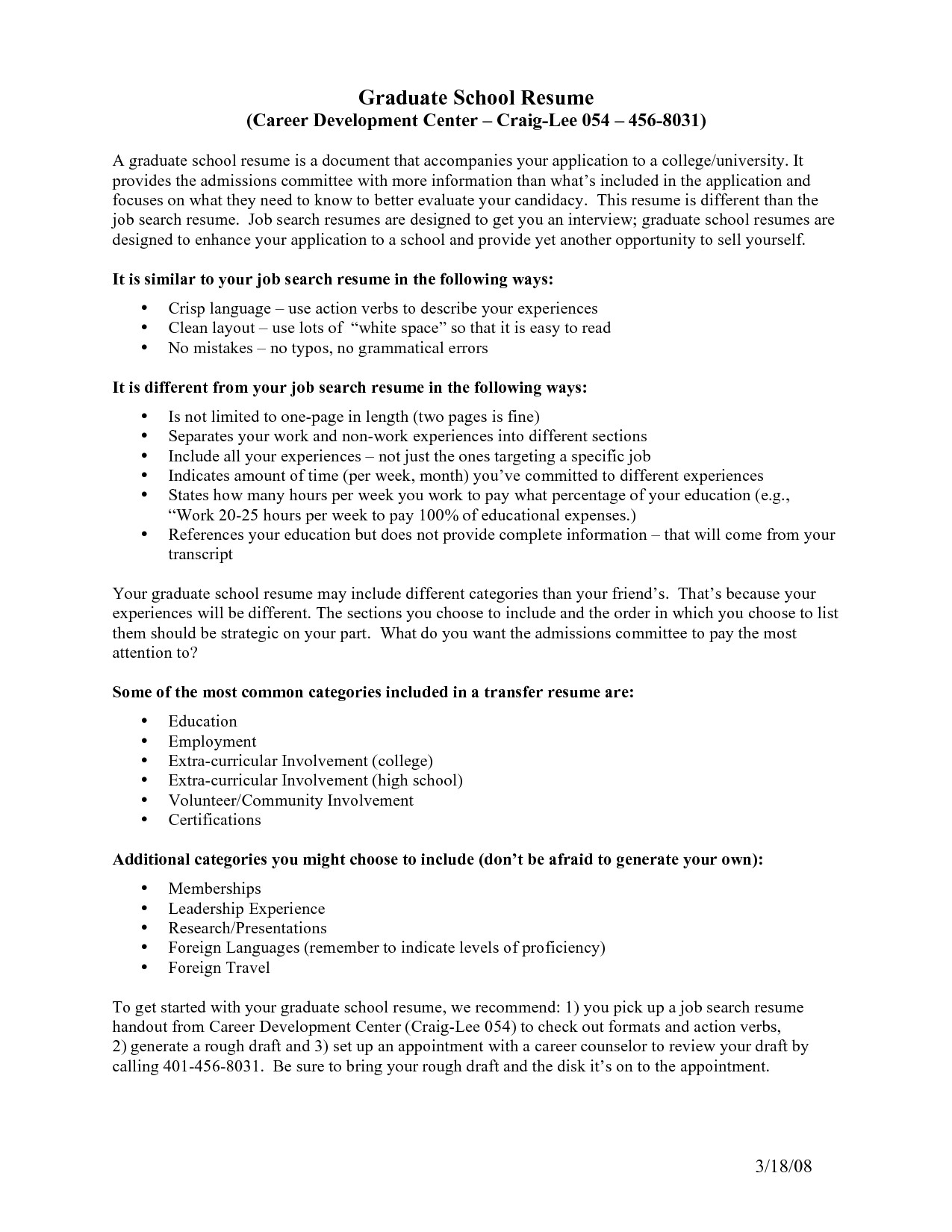 resume for graduate school template