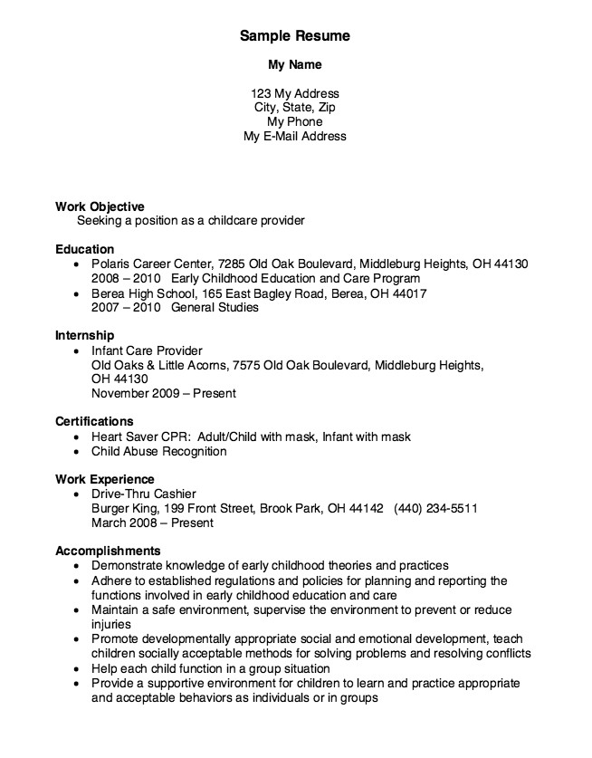 Resume Sample for Child Care Provider Childcare Provider Resume Example Resumes Pinterest