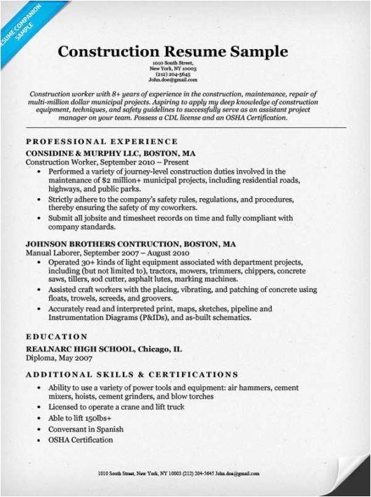 Resume Sample for Construction Worker Construction Worker Resume Musiccityspiritsandcocktail Com
