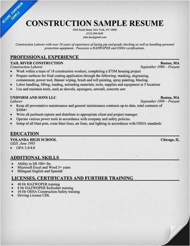 Resume Sample for Construction Worker Example Resume Construction Worker Resume Template