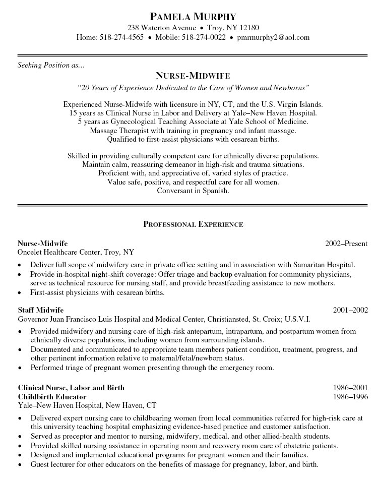 new graduate nurse resume clinical experience