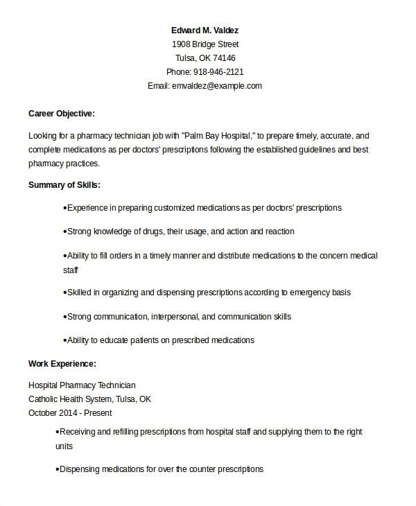 Resume Sample for Pharmacy Technician 10 Pharmacy Technician Resume Templates Pdf Doc Free