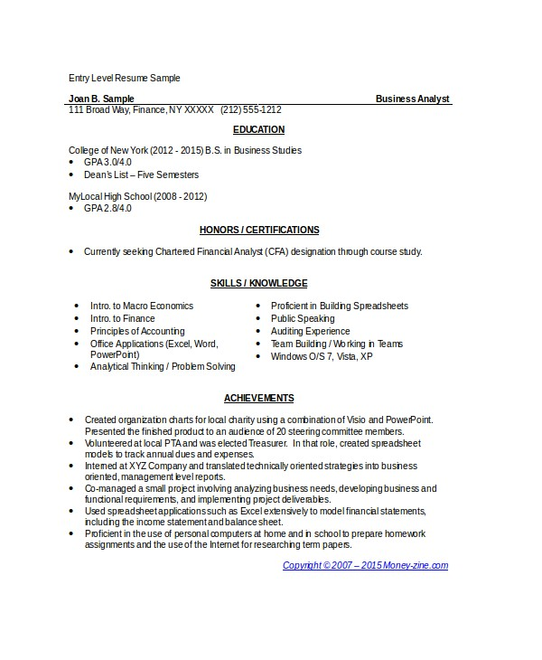 Resume Samples for Business Analyst Entry Level 8 Business Analyst Resumes Free Sample Example format