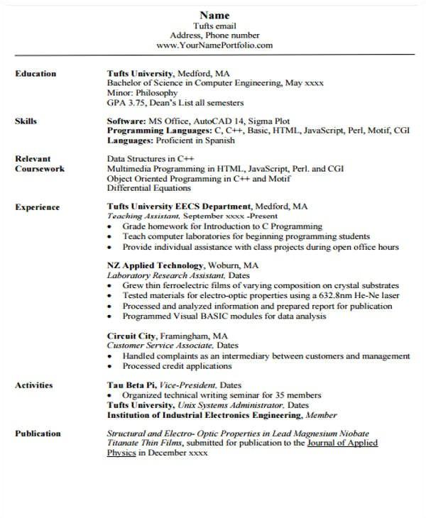 engineering resume template pdf