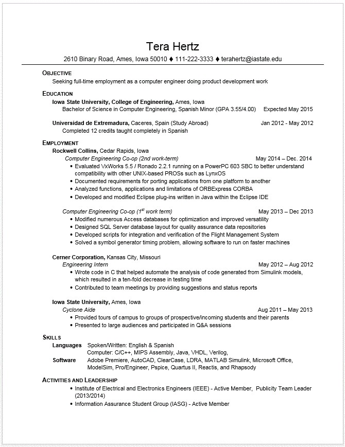 Resume Samples for Computer Engineering Students Example Resumes Engineering Career Services Iowa State