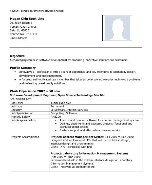 Resume Samples for Experienced software Professionals 8 Sample software Engineer Resumes Sample Templates