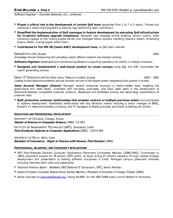 sample sixteen software engineering professional resume