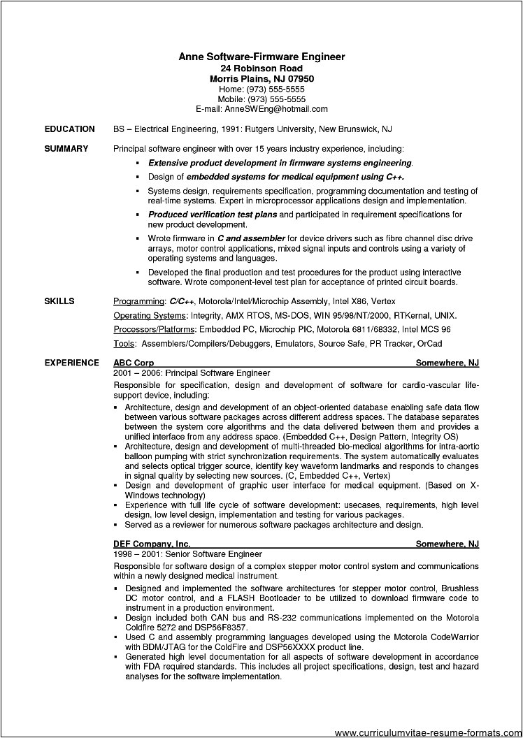 resume samples for experienced software professionals