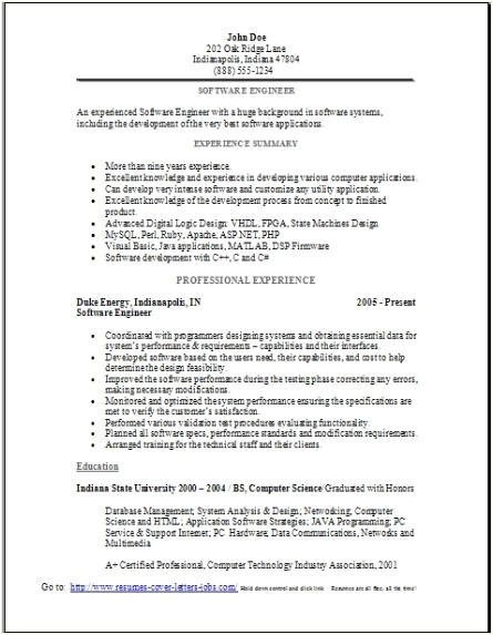 software engineer resume sample